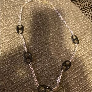 Nygard brand chain silver & black necklace